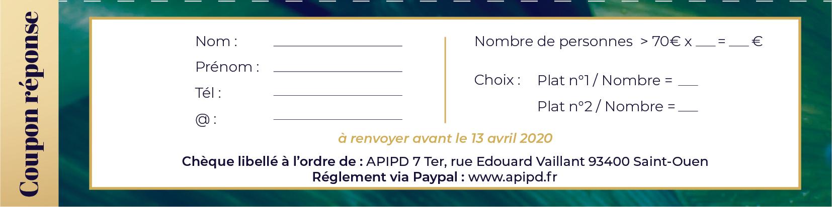 Coupon réponse du gala de charité de l'APIPD 2020