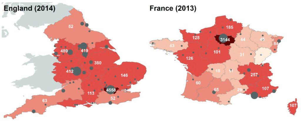 Fréquence en Angleterre et en France